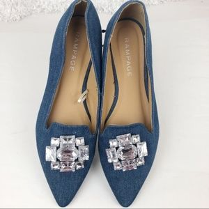 Rampage Coolsie Blue Jeweled Pointed Toe Flat 7.5